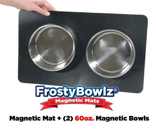 frostybowlz magnetic matz u0026 two 60 oz magnetic bowls